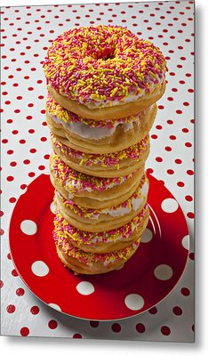 Tall Stack Of Donuts Metal Print by Garry Gay