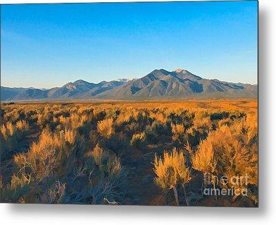 Taos Sagebrush At Sunset Metal Print by Charles Muhle