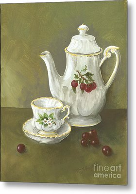 Metal Print featuring the painting Tea With Cherries  by Nancy Patterson