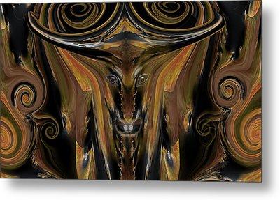 Texas Longhorn Abstract Digital Painting Metal Print by Heinz G Mielke
