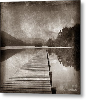 Textured Lake Metal Print by Bernard Jaubert