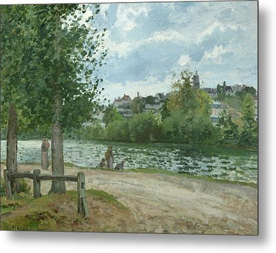 The Banks Of The Oise At Pontoise Metal Print by Camille Pissarro