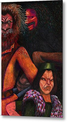 The Beast Meets With Asema And The Forest Lord Metal Print by Al Goldfarb