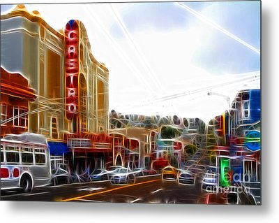 The Castro In San Francisco Electrified Metal Print by Wingsdomain Art and Photography