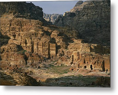 The Caves And Tombs Of Petra, Shown Metal Print by Annie Griffiths