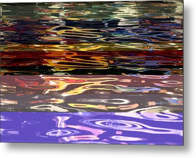 The Colorful Riverwalk Is Reflected Metal Print by Stephen St. John