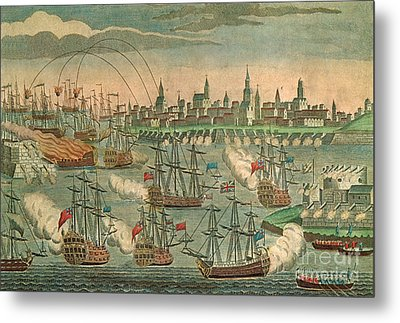 The Fall Of Louisbourg 1758 Metal Print by Photo Researchers