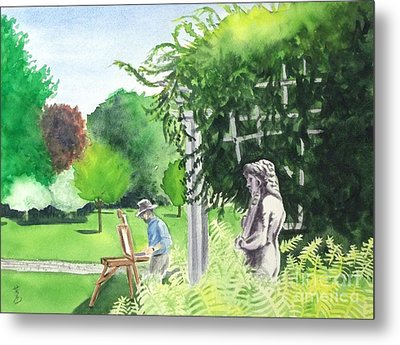 Metal Print featuring the painting the garden at the wellers carriage house in Saline  Michigan 1 by Yoshiko Mishina