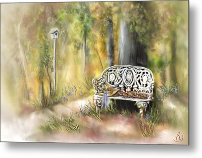 Metal Print featuring the painting The Garden Bench by Bonnie Willis