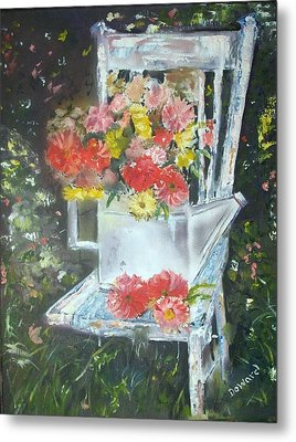 The Garden Chair Metal Print by Raymond Doward