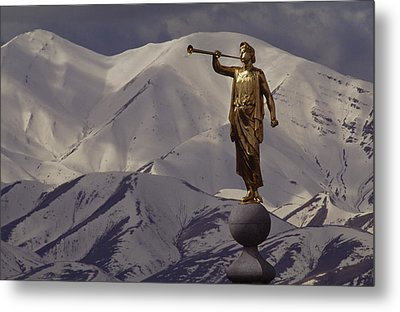The Gilded Statue Of The Angel Moroni Metal Print by James P. Blair