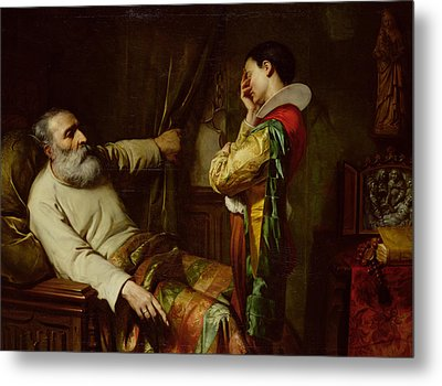 The Last Moments Of Christopher Columbus  Metal Print by Claude Jacquand