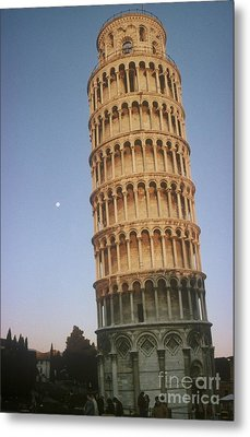 The Leaning Tower Of Pisa With Moon Metal Print