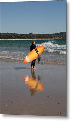 The Orange Surfboard Metal Print by Jan Lawnikanis