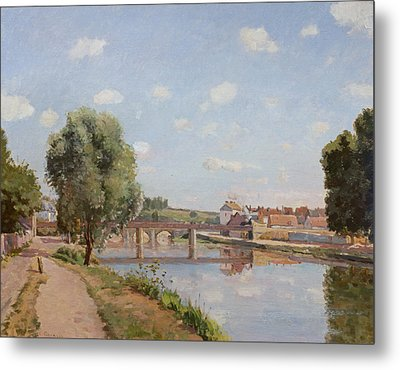 The Railway Bridge Metal Print by Camille Pissarro