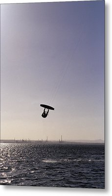 The Silhouette Of A Person Kite Metal Print by Jason Edwards