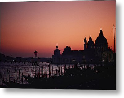 The Skyline Of Venice Silhouetted Metal Print by Nicole Duplaix