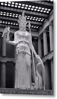 The Statue Of Athena Bw Metal Print by Linda Phelps