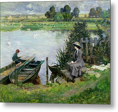 The Thames At Benson Metal Print by Albert Chevallier Tayler