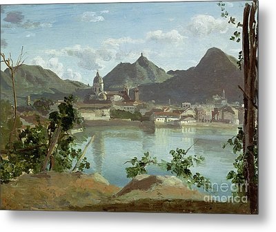 The Town And Lake Como Metal Print by Jean Baptiste Camille Corot