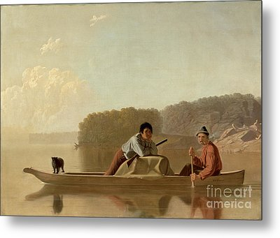 The Trapper's Return Metal Print by George Caleb Bingham