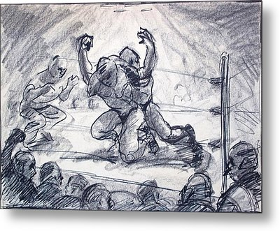 The Wrestling Match Metal Print by Bill Joseph  Markowski