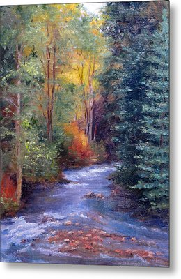 Thecreekearlyfall Metal Print by Victoria  Broyles