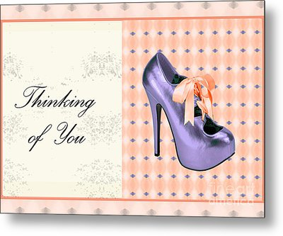 Thinking Of You Bow Shoe Metal Print by Maralaina Holliday