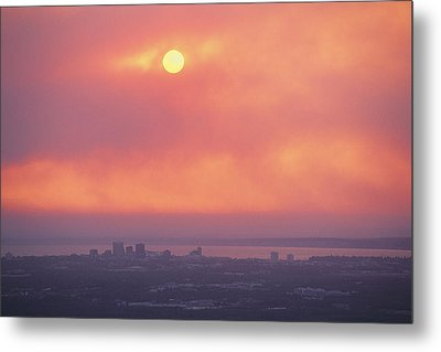 This Sunset Of The Anchorage Skyline Metal Print by George F. Mobley