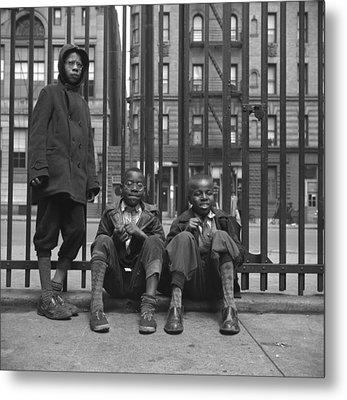 Three African American Boys In Harlem Metal Print by Everett