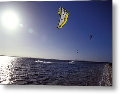 Three Kite Surfers On A Windy Summer Metal Print by Jason Edwards