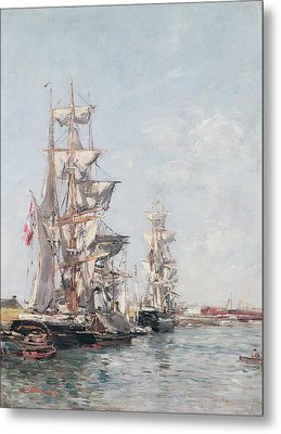 Three-masted Boats At The Quay In Deauville Harbour Metal Print by Eugene Louis Boudin