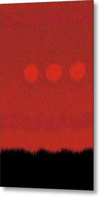 Three Moons In Red Sky Metal Print by James Mancini Heath