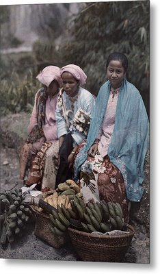Three Women Traders Sit Metal Print by W. Robert Moore