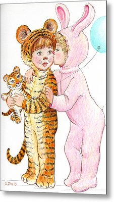 Metal Print featuring the drawing Tiger And Bunny In The Children's Parade by Dee Davis