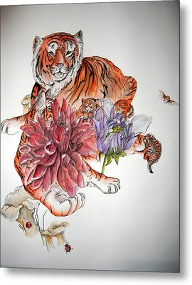 Metal Print featuring the painting Tigers The Color Of Orange by Debbi Saccomanno Chan