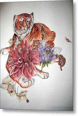 Tigers The Color Of Orange Metal Print by Debbi Saccomanno Chan