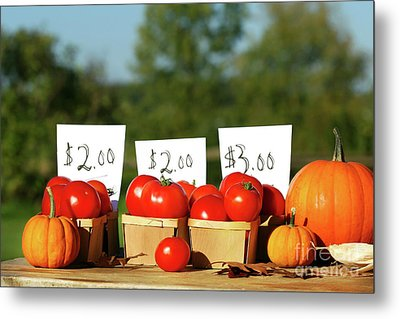 Tomatoes For Sale Metal Print by Sandra Cunningham