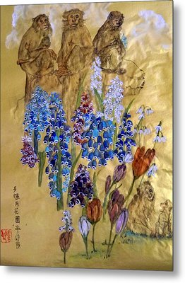 Metal Print featuring the painting Too Many Monkeys In The Garden by Debbi Saccomanno Chan