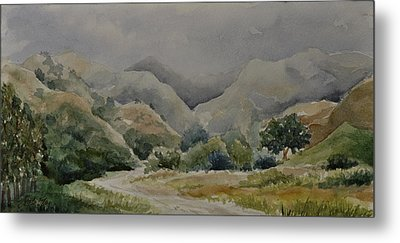Metal Print featuring the painting Towsley Canyon Morning by Sandy Fisher
