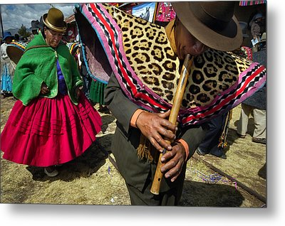Traditional Dance Of The Bolivian Highlands. Metal Print by Eric Bauer