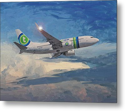 Metal Print featuring the painting Transavia Boeing 737 No2 by Nop Briex