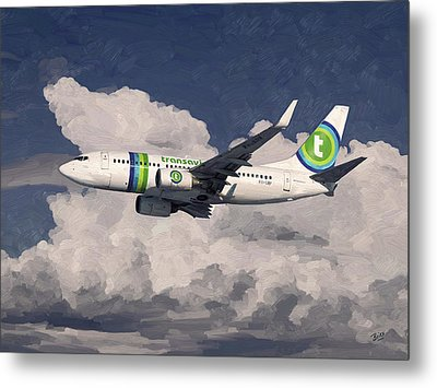 Metal Print featuring the painting Transavia Boeing 737 by Nop Briex