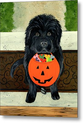 Metal Print featuring the painting Trick Or Treat by Sharon Nummer