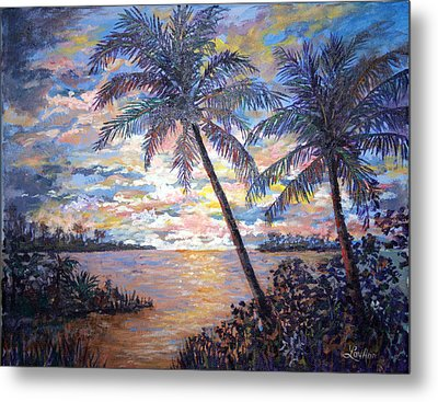 Metal Print featuring the painting Tropical Sunset by Lou Ann Bagnall
