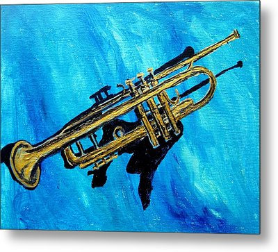 Metal Print featuring the painting Trumpet by Amanda Dinan