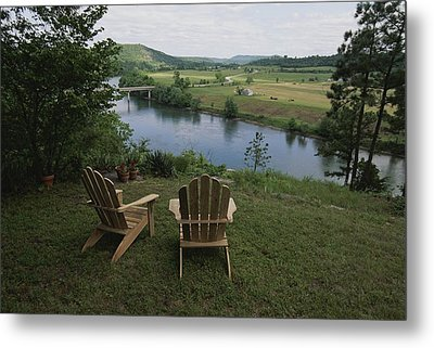 Two Adirondack Chairs On A Scenic Metal Print by Randy Olson