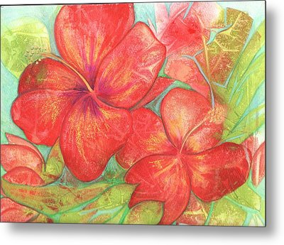 Metal Print featuring the painting Two Hibiscus Blossoms by Carla Parris
