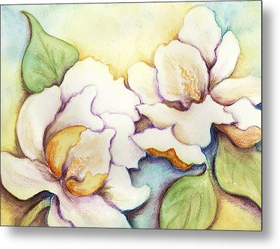 Two Magnolia Blossoms Metal Print by Carla Parris