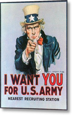 Uncle Sam I Want You Army Recruitment Metal Print
